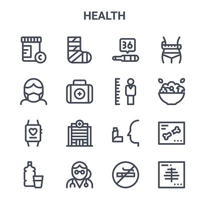 set of 16 health concept vector line icons. 64x64 thin stroke icons such as bandage, medical mask, salad, inhaler, doctor, x ray, no smoking, height, waist