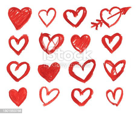 istock Set of 16 hearts hand drawn by red lipstick on white paper background - uneven messy beautiful outlined painted over with arrow single isolated object with jagged edges and not evenly distributed pigments - vector illustration - unique doodles 1301553758
