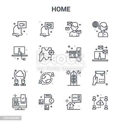 set of 16 home concept vector line icons. 64x64 thin stroke icons such as email, imac, emails, i stay at home, memory card, cloud, developer, payment, support
