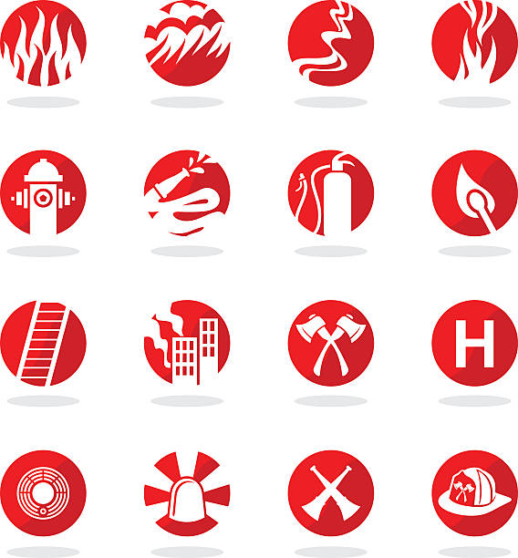 set of 16 illustrated firefighter icons - lepro stock illustrations