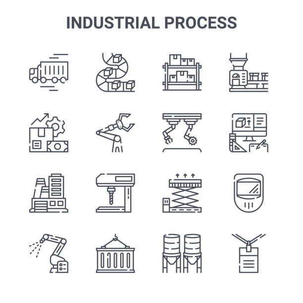 illustrazioni stock, clip art, cartoni animati e icone di tendenza di set of 16 industrial process concept vector line icons. 64x64 thin stroke icons such as conveyor belt, production, product de, lift, container, work, water tank, assembly, conveyor belt - metal robot in logistic factory