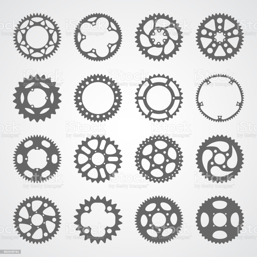 Set of 16 isolated gears and cogs vector art illustration