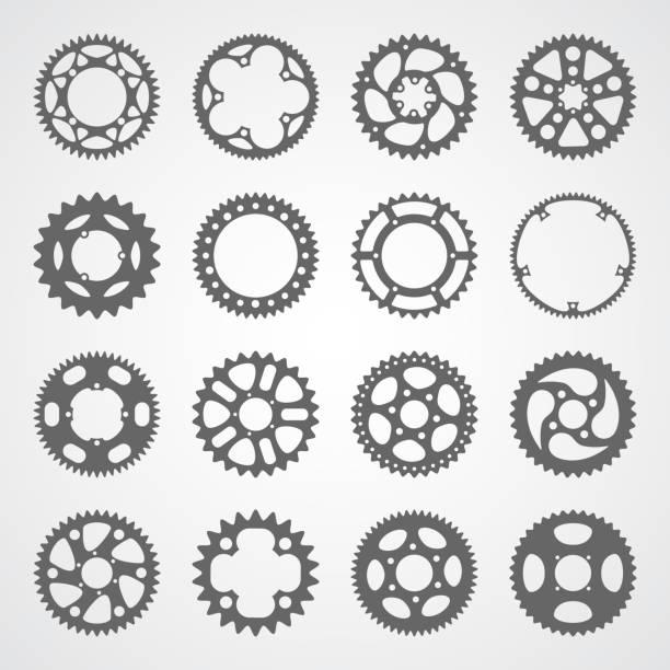 bildbanksillustrationer, clip art samt tecknat material och ikoner med uppsättning av 16 isolerade gears och kuggar - tvåhjulig cykel