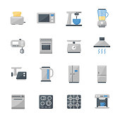 Set of 16 kitchen appliances flat icons.