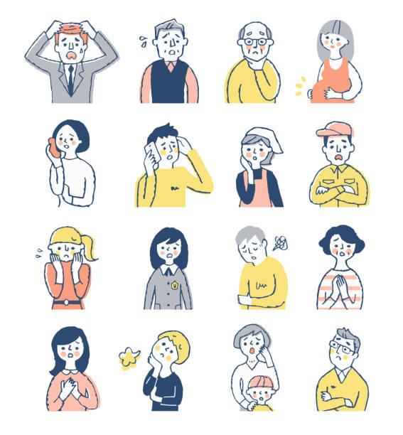 stockillustraties, clipart, cartoons en iconen met een reeks van 16 mannen en vrouwen met verontruste uitdrukkingen - alleen japans