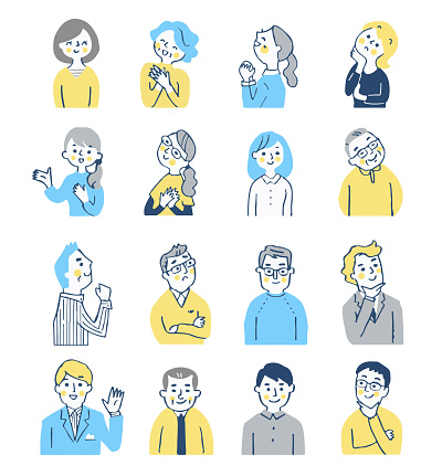 A set of 16 men and women with various expressions