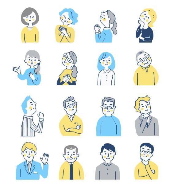 ilustrações de stock, clip art, desenhos animados e ícones de a set of 16 men and women with various expressions - somente japonês