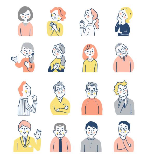 stockillustraties, clipart, cartoons en iconen met een set van 16 mannen en vrouwen met verschillende uitdrukkingen - alleen japans