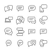 Set of 16 message thin line icons.