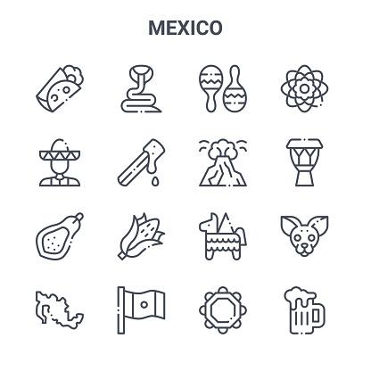 set of 16 mexico concept vector line icons. 64x64 thin stroke icons such as snake, mariachi, drum, pi?ata, mexico, beer mug, jarocho, popocatepelt, dalia