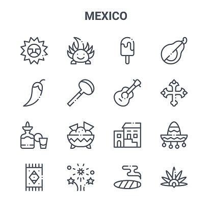 set of 16 mexico concept vector line icons. 64x64 thin stroke icons such as ajolote, chilli, cross, traditional, fireworks, headdress, cigar, guitar, avocado