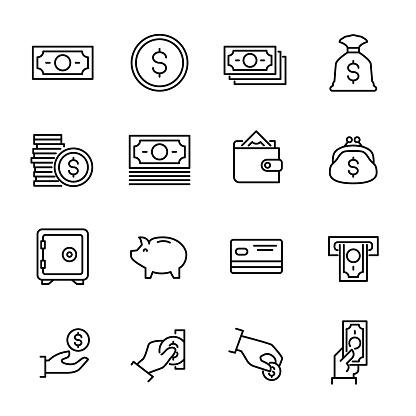 Set of 16 money thin line icons.