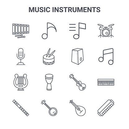set of 16 music instruments concept vector line icons. 64x64 thin stroke icons such as music notes, microphone, music notes, ukelele, banjo, harmonica, mandolin, cajon, drums