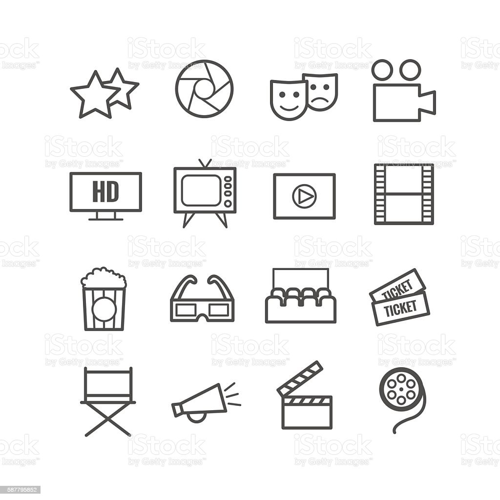 Set of 16 outline cinema icons vector art illustration