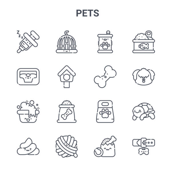 set of 16 pets concept vector line icons. 64x64 thin stroke icons such as cage, pet bed, dog, pet food, cat toy, collar, pet shop, dog biscuit, canned food - dog treats stock illustrations