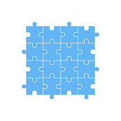 Set of 16 pieces of blue puzzle. The concept of infographic. Business idea. Vector illustration.