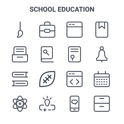 set of 16 school education concept vector line icons. 64x64 thin stroke icons such as school bag, cabinet, bell, coding, , cabinet, chat, graduation, bookmark