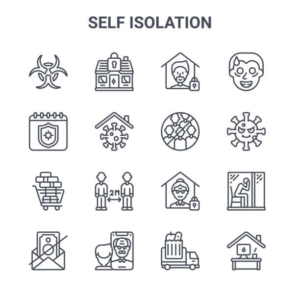 illustrations, cliparts, dessins animés et icônes de ensemble de 16 icônes de ligne vectorielle de concept d'auto-isolement. 64x64 icônes de course mince telles que stayhome, quarantaine, virus, quarantaine, facetime, bureau à domicile, camion d'épicerie, pas de groupe, fou - facetime