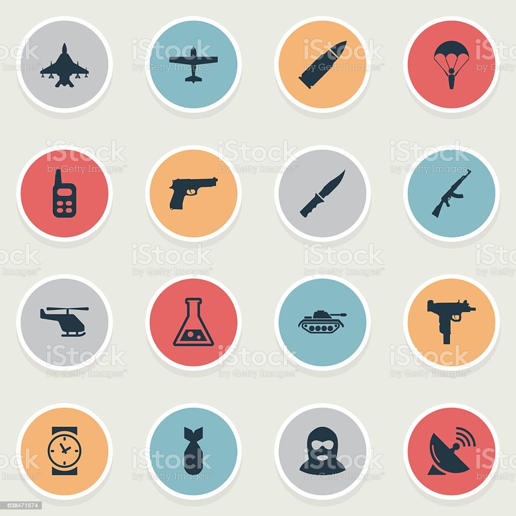 Set Of 16 Simple Battle Icons. ベクターアートイラスト