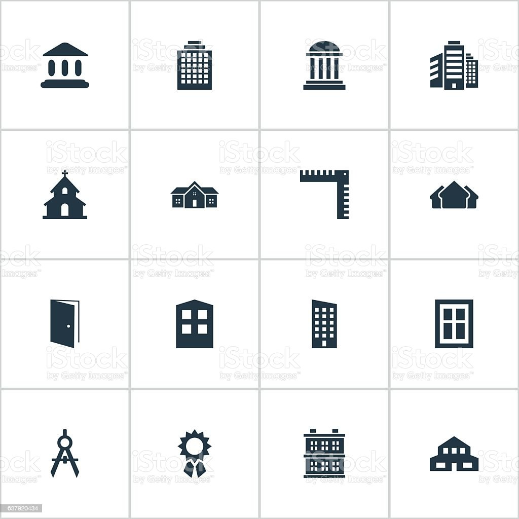 Set Of 16 Simple Construction Icons. vector art illustration