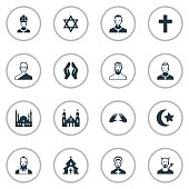 Set Of 16 Simple Faith Icons.