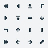 Set Of 16 Simple Indicator Icons.