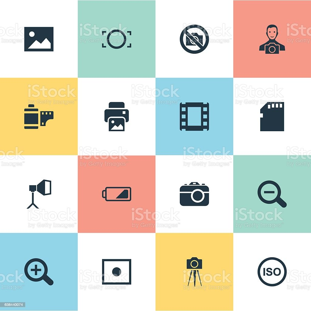 Set Of 16 Simple Photograph Icons. vector art illustration