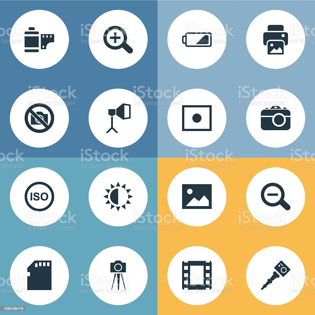 Set Of 16 Simple Photographer Icons. vector art illustration