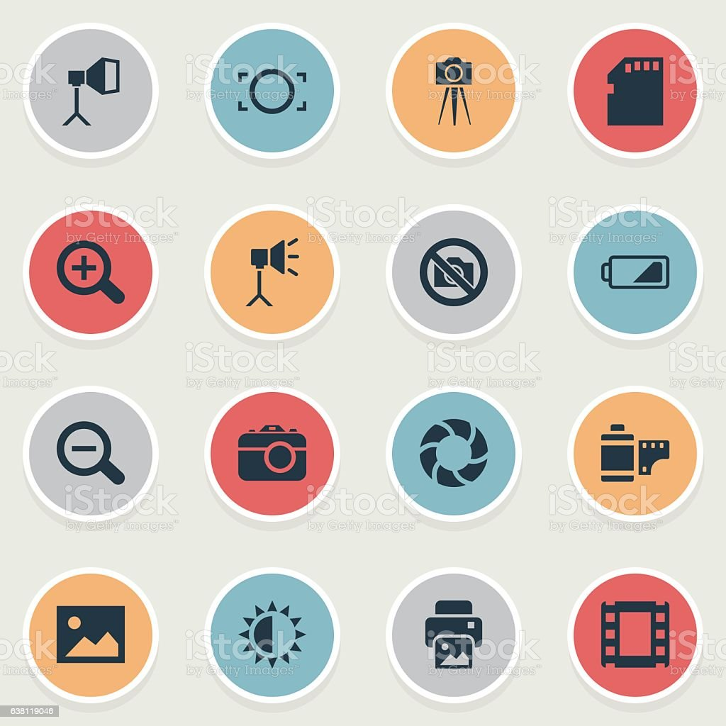 Set Of 16 Simple Photographic Icons. vector art illustration