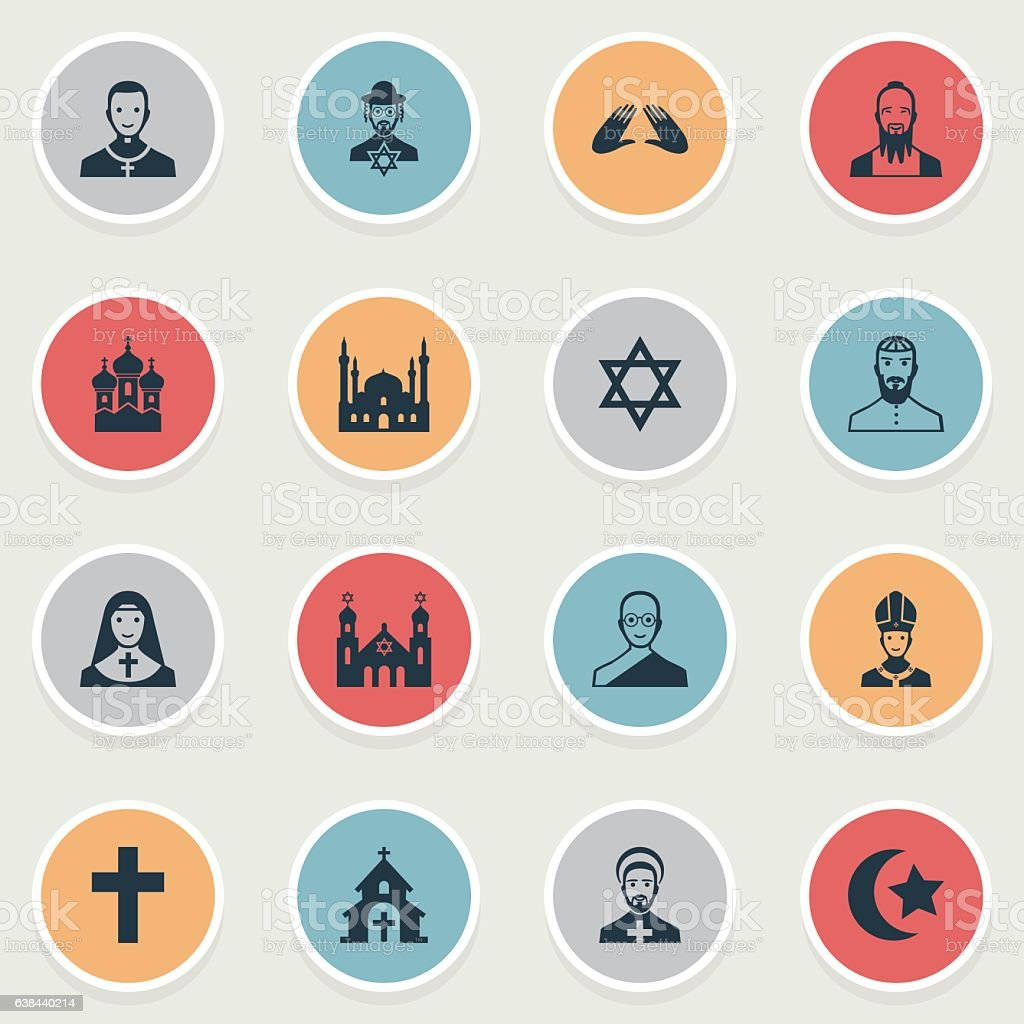 Set Of 16 Simple Religion Icons. vector art illustration