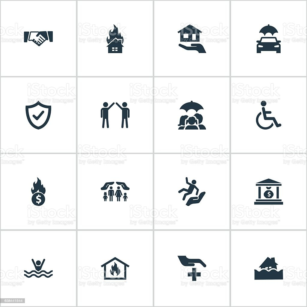 Set Of 16 Simple Safeguard Icons. vector art illustration