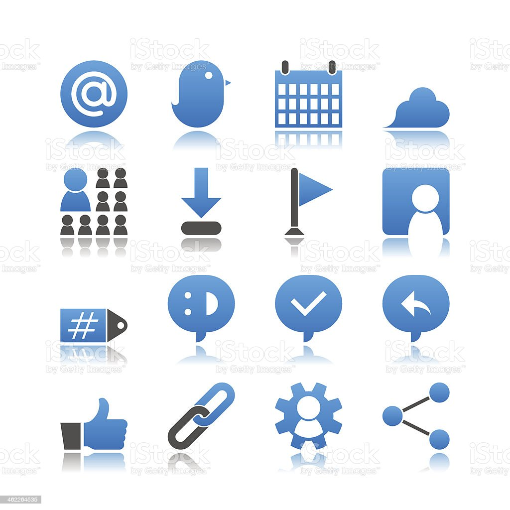 Set of 16 Social Network simple vector icons vector art illustration