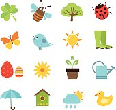 Set of 16 Spring icons on the white background