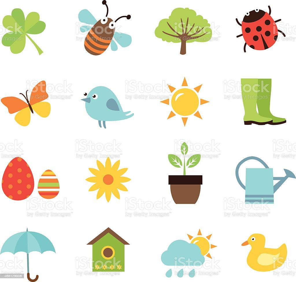 Set of 16 Spring icons on the white background  vector art illustration