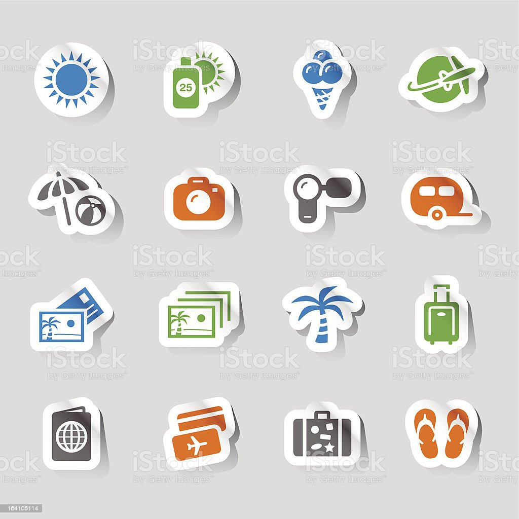 Set of 16 sticker icons depicting vacation and travel royalty-free stock vector art