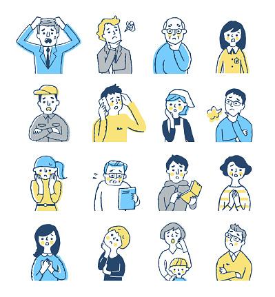 People, men, women, facial expressions, negatives, upper body