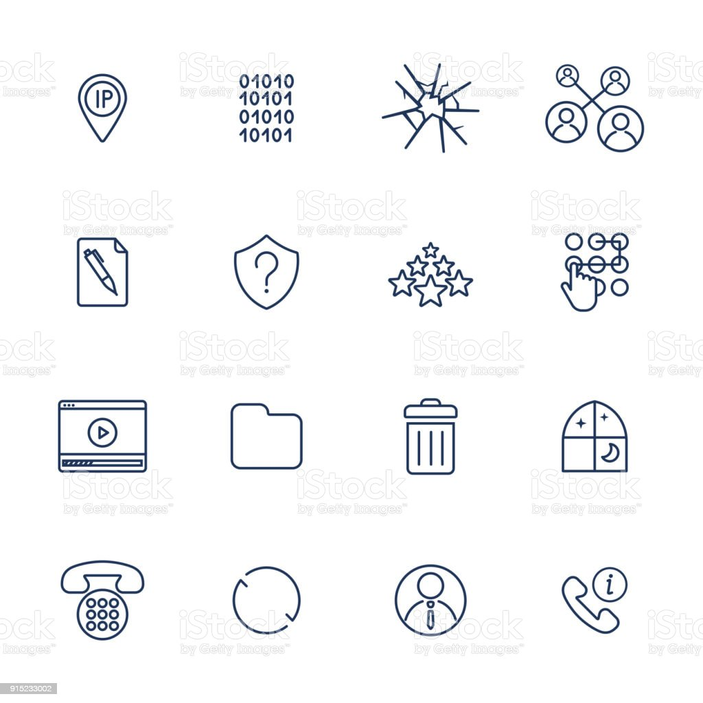 Set of 16 vector icons for software, application or websites - social media and technology vector art illustration