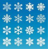 A set of sixteen vector snowflakes