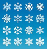 Set of 16 vector image snowflakes