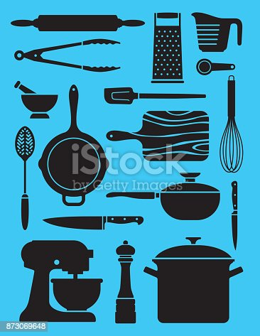 Collage or pattern of simplified silhouette vector designs showing a variety of kitchen or chef tools.