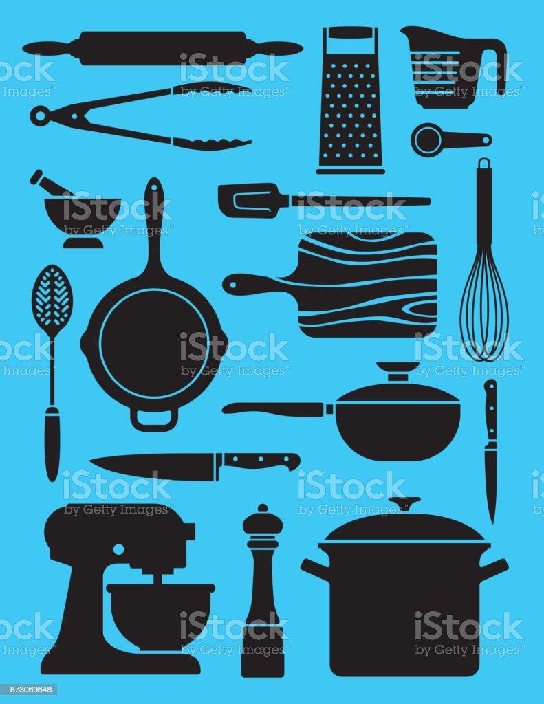 Set of 17 kitchenware illustrations. vector art illustration