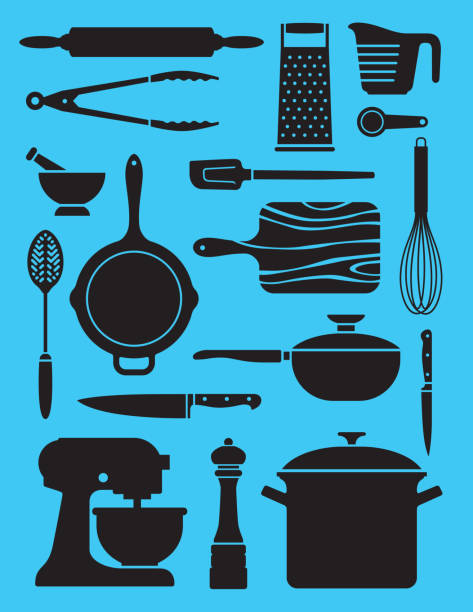 Set of 17 kitchenware illustrations. Collage or pattern of simplified silhouette vector designs showing a variety of kitchen or chef tools. rolling pin stock illustrations