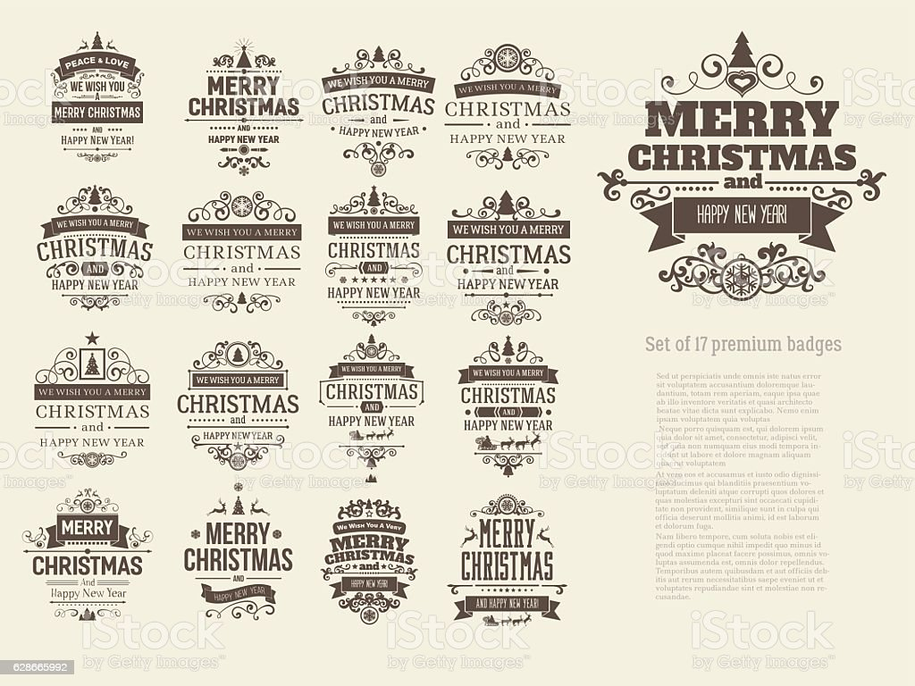 Set of 17 retro vintage Christmas badges vector art illustration
