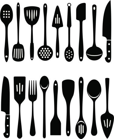 Set of 18 black kitchen utensils on white background