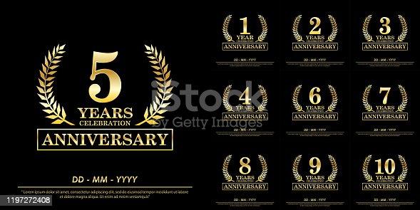 istock set of 1st-10th anniversary celebration emblem. elegance golden anniversary awards logo isolated on black background, vector illustration template design for celebration greeting card and invitation 1197272408