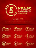 set of 1st-10th anniversary celebration emblem. elegance golden anniversary logo with ring on red background. template design for web,poster, booklet, leaflet, flyer, greeting and invitation card