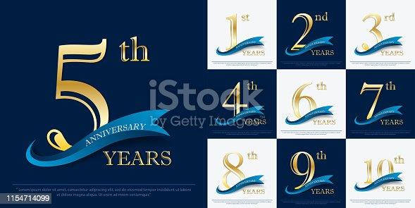set of 1st-10th elegance golden anniversary celebration emblem with blue ribbon, anniversary logo design for web, game, poster, booklet, leaflet, flyer, magazine, greeting card and invitation card