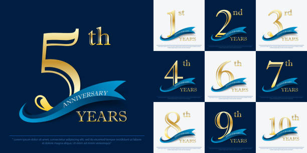 set of 1st-10th elegance golden anniversary celebration emblem with blue ribbon, anniversary logo design for web, game, poster, booklet, leaflet, flyer, magazine, greeting card and invitation card - anniversary backgrounds stock illustrations