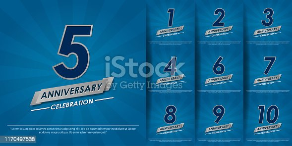 set of 1st-10th elegance silver anniversary celebration emblem with ribbon on blue background. anniversary logo design for web, game, poster, booklet, leaflet, flyer, magazine, greeting card and invitation card