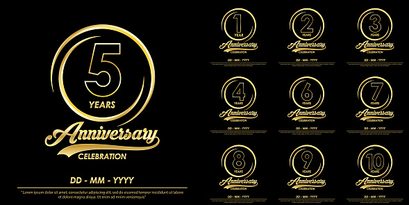 set of 1st-10th years anniversary celebration emblem. anniversary logo with elegance of golden ring on black background, vector illustration template design for celebration greeting card and invitation card
